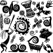 Elements for designing primitive art - Stockvectorbeeld