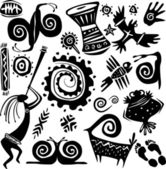 Elements for designing primitive art — Stock Vector