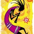 Dancing figure. Kokopelli — Stock Vector