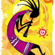 Stock Vector: Dancing figure. Kokopelli