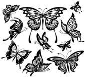 A set of black and white butterflies — Vector de stock