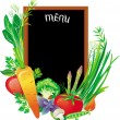 Stock Vector: Board menu with a group of vegetables