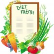 Diet menu with a group of vegetables — Imagen vectorial