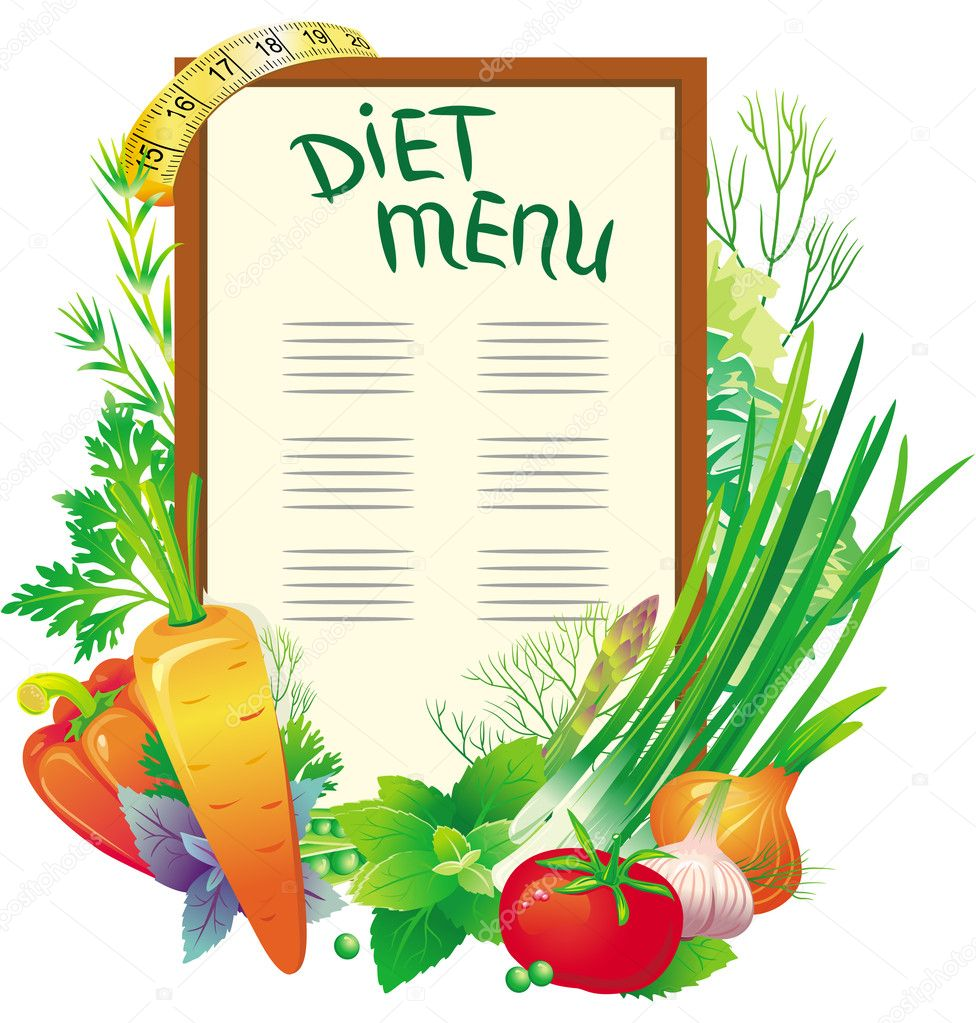 Diet menu with a group of vegetables  Stock Vector #3424831