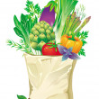 Shopping bag full of vegetables — Stock Vector