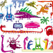 Stock Vector: A set of colored cartoon monsters