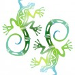 Two decorative green lizards — Stock Vector