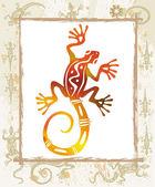 Color lizard in a frame — Stock Vector