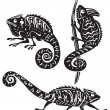 Black and white chameleon — Image vectorielle