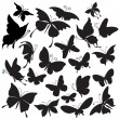 Stock Vector: Set of silhouettes of butterflies