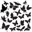 Set of silhouettes of butterflies — Stock Vector