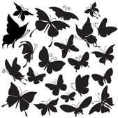 Set of silhouettes of butterflies — Stockvektor