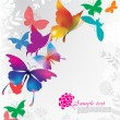 Stock Vector: Background with colorful butterflies