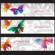 Banners with colorful butterflies — Stockvectorbeeld