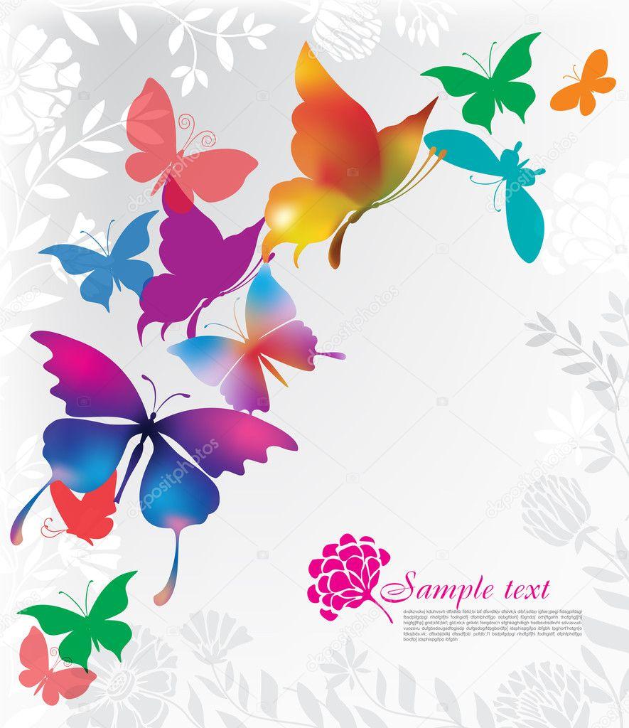 Sfondo con farfalle colorate vettoriali stock wikki33 for Foto farfalle colorate