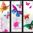 Vertical banners with colorful butterflies — Stock Vector