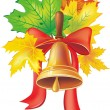 School bell with maple leaves - Stockvektor