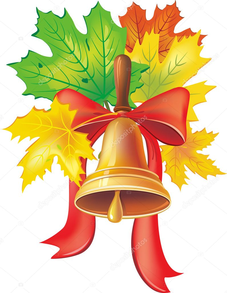 School bell with maple leaves — Stock Vector #3632064