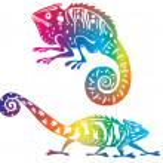 Colored chameleon — Stock Vector