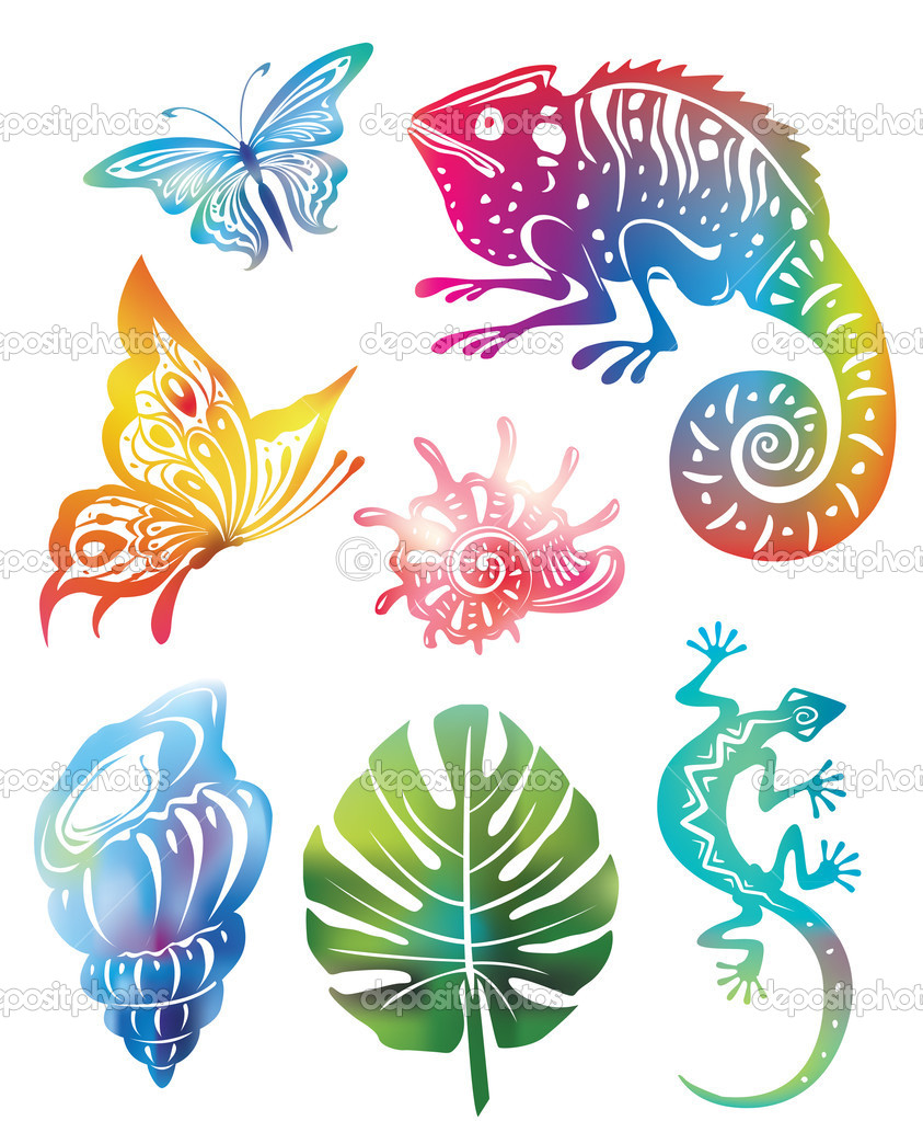 Colored objects of nature(used Mesh and Clipping Mask) — Stock Vector #3671847