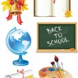 Education and school icons set — Stock Vector