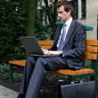 Royalty-Free Stock Photo: Young caucasian businessman using his laptop in park