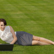 Portrait of a businesswoman using laptop — Foto Stock