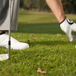 Person positioning golf ball on tee — Stockfoto