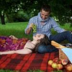 Young man feeding girlfriend at park — Stock Photo #3814202