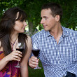 Young couple looking at each other and toasting wine in park — Stock Photo #3814225