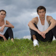 Young couple exercising in park — Stock Photo #3816367