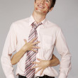 Young caucasian businessman in office romance concept — Stock Photo