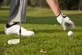 Person positioning golf ball on tee — Stok fotoğraf