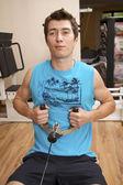 Man Weight Training At Gym — Stock Photo
