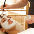 Stock Photo: Close-up of young womreceiving beauty treatment in spa