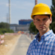 Portrait of architect in hardhat at construction site — Stock Photo #3822180
