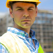 Portrait of engineer wearing hardhat — Stock Photo