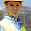Portrait of engineer wearing hardhat — Stock Photo