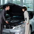 Stock Photo: Car salesperson explaining about car's engine to customer