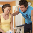 Man and Woman Talking in Health Club — Stock Photo