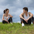 Stock Photo: Young couple exercising in park