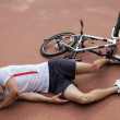 Young man injured during riding a bike - Foto de Stock