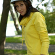 Portrait of woman in cycle helmet - Stock Photo