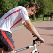Man riding a bike — Stock Photo