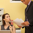Stock Photo: Businesswoman and businessman at work