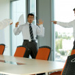 Businessman blaming his colleague - failure concept - Foto Stock