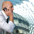 Businessman conversing on mobile phone -  