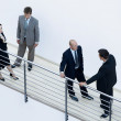 Stock Photo: Businessmen and womstanding together by railing and conversing