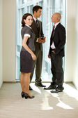 Portrait of young caucasian business talking in office — Stock Photo