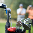 Golf clubs in bag at golf course — Stockfoto
